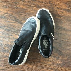 Black Leather Slip On Vans!!